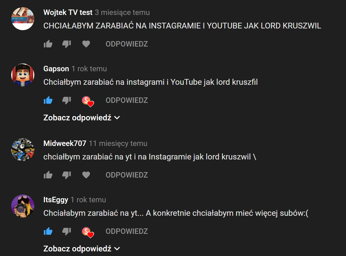 komentarze na youtube
