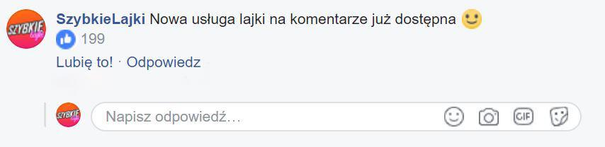 lajki pod komentarzem na facebooku