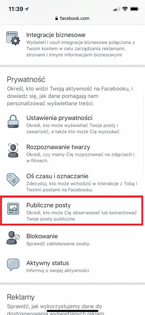 Zmiana ustawień prywatności na Facebooku z telefonu 2