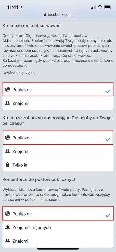 Zmiana ustawień prywatności na Facebooku z telefonu 3
