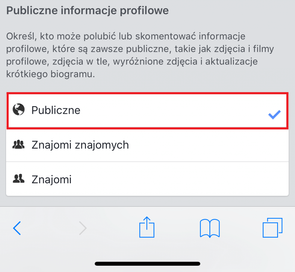 Zmiana ustawień prywatności na Facebooku z telefonu 4